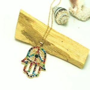 Multi-Color Hamsa Hand Pendant Necklace
